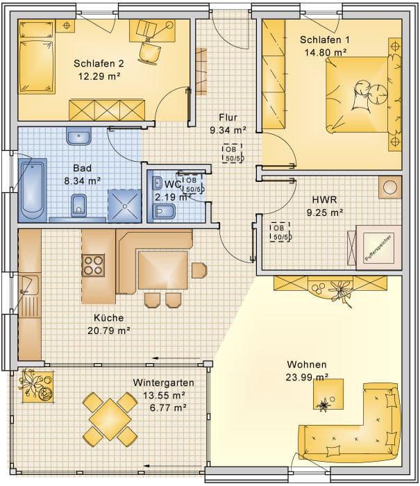 Holzhaus bungalow grundriss  Preise und Kosten: Bungalow-Planungsbeispiel 108H10